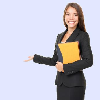 Business woman showing white copy space